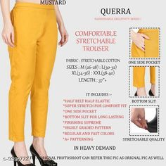 Checkout this latest Women Trousers Product Name: *Women Comfort Stretchable Trouser* Fabric: Cotton Lycra Pattern: Solid Multipack: 1 Sizes:  26, 28, 30, 32, 34, 36, 38, 40, 42 Country of Origin: India Easy Returns Available In Case Of Any Issue   Catalog Rating: ★4.1 (2988)  Catalog Name: Women Comfort Stretchable Trouser CatalogID_1646493 C79-SC1034 Code: 013-9390772-327