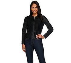H by Halston Cropped Perforated Leather Jacket