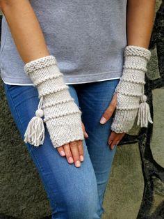 Knit Fingerless gloves in oatmeal color Gloves Mittens Long knit gloves Boho knit gloves mittens Girls wool fingerless gloves gypsy Fingerless Gloves Knitted, Crochet Gloves, Knit Mittens, Knit Crochet, Knitting Patterns Free, Hand Knitting, Knitting Yarn, Wrist Warmers, Wool