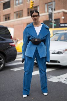 Guti Marzari is seen attending NaeeM Khan and Chiara Boni La petite Rose during New York Fashion Week wearing Claudia Li Gucci Loewe eyeware on...