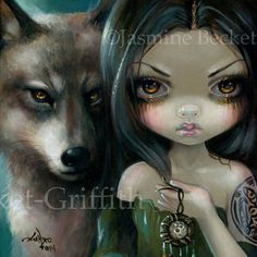 Faces of Faery 226 fairy face art print by Jasmine Becket-Griffith 6x6 wolf wolves dreamcatcher