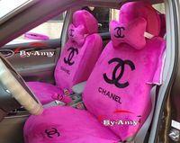 Pink no hello kitty bordado canal asientos para automóviles con almohadas cubierta del volante hombro pad 18 en un conjunto