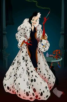 Crudelia De Mon (Cruella de Vil) nel celeberrimo lungometraggio Disney La carica dei 101 ( 101 Dalmatians, 1961)
