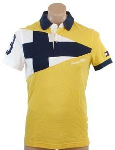 Tommy Hilfiger Mens Custom Fit Short Sleeve Logo Polo Shirt – XL – Yellow