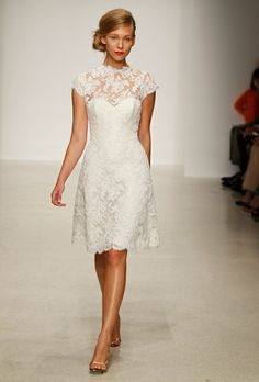 Lace wedding dress. Knee length.