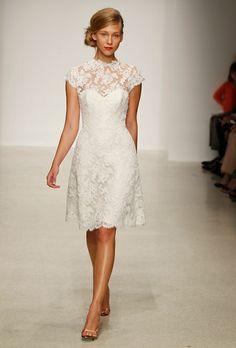Lace wedding dress. Knee length.