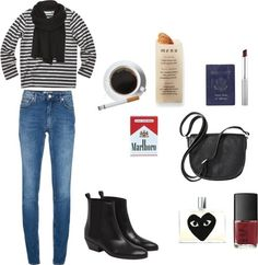 french classic by madeline-elaine featuring skinny jeansAcne skinny jeans / Rock boots, $350 / Merona black purse / AllSaints / Clinique / Comme des Garçons black fragrance, $99 / NARS Cosmetics