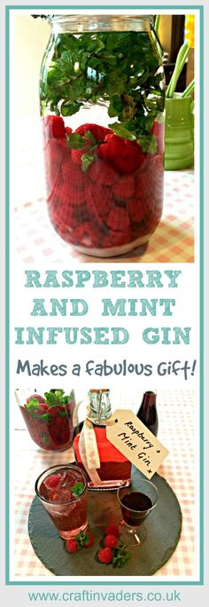 - Raspberry Gin: How To Make The Best Pink Gin Fruit Spirits are super easy, super yummy and make great presents – this Raspberry and Mint Infused Gin is by far the most popular one I make, it really is delicious! Gin Recipes, Alcohol Recipes, Recipies, Easy Mocktail Recipes, Syrup Recipes, Raspberry Recipes, Homemade Christmas Gifts, Homemade Gifts, Xmas Gifts