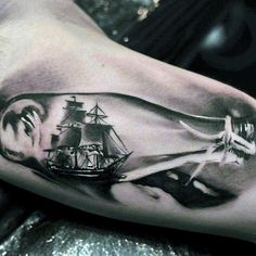 Male Forearms Cute Ship In Glass Bottle Realistic Tattoo