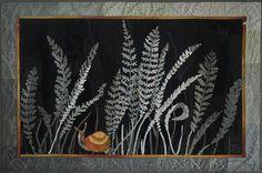nature Quilt Art, golden snail, silver grass, Textured Wall Art, Quilted Picture, Art Quilt, Quilted Wall hanging, Textile Art, embroidery