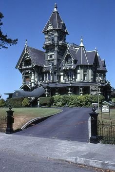 "Victorian - Carson Mansion in Eureka CA--""considered the most grand Victorian home in America.""  William Carson (July 15, 1825 – February 20, 1912), for whom the mansion was built, arrived in San Francisco from New Brunswick, Canada in 1849.  He was one of Northern California's first major lumber barons."