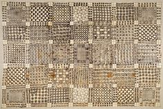 elemenop:    Wrapper - Asante peoples - GhanaMid-late 19th centuryImported cotton cloth, black pigment