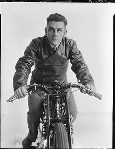 Speedway rider Gus Clifton on AJS motorcycle, ca March 1929