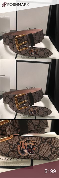 100% Authentic Gucci tiger print gg supreme belt Selling an authentic Gucci tiger supreme GG belt. This tiger has quickly become one of Alessandro Michele's signature details. Here it is printed at the tip of a belt made in GG supreme canvas, a material with low environmental impact. All belts are 100% authentic and money back guaranteed. Will come with box, dust bag, and original tags. Thanks!! Gucci Accessories Belts