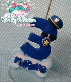 Paw Patrol fondant Chase number candle Number Cake Toppers, Number Cakes, Number Birthday Cakes, Birthday Cake Toppers, Fondant Numbers, Cumple Paw Patrol, Paw Patrol Cake, Party Themes For Boys, Take The Cake
