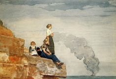 """huariqueje: """" The Fisherman's Family (The Lookout) - Winslow Homer 1881 American Watercolor over graphite pencil on paper , x cm ½ x 19 in. Winslow Homer Paintings, Family Painting, Museum Of Fine Arts, American Artists, Canvas Art Prints, Art Gallery, Illustration Art, Artwork, Watercolors"""
