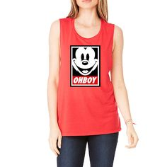 Oh boy Mickey Mouse Shirt | Workout Tank | Workout Womens Tank | Workout Shirt | Womens Tank | Muscle Tank | Yoga Tank | Yoga Shirt  A fashion-forward cropped tank, designed in an irresistibly soft poly-cotton fabrication and a form-fitting silhouette, will become a wardrobe staple.  Our items are Printed in the United States.. They are an original inspired design .The words used in the title and/or search terms are not intended to imply they are licensed by any rights holders.  *****CHE...