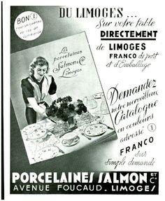 Publicité ancienne Les Porcelaines Salmon & cie Limoges 1939
