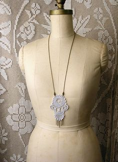 long lace necklace  CALEDONIA  pale grey lace jewelry by whiteowl, $32.00