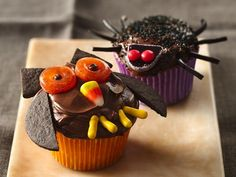 Owl and Spider Cupcakes. Add something creative to your Halloween celebration! Enjoy these owl shaped cupcakes made with Betty Crocker® SuperMoist® yellow cake mix and Betty Crocker® Rich & Creamy chocolate frosting.