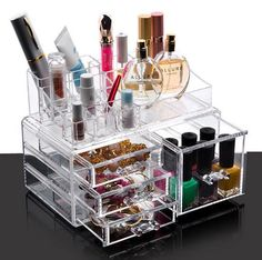 All in One Make Up Storage for Lispticks, Makeup Brushes, Palettes etc Practical and Handy Size Makeup Organiser easy to fit in Dressing table or Washstand 3 Flat Drawers+ 1 Deep Drawer could fit diff