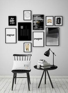 Wall Art Prints Set of 10 – Set of 10 Art Poster – Wall Art Prints – ArtFilesVis … – Modern Apartment Decoration Ideas Black And White Wall Art, White Walls, Black White, Black And White Design, Black Art, Black Wall Decor, White Gold, Decor Room, Living Room Decor