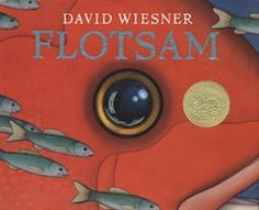 Flotsam by David Wiesner was awarded the 2007 #Caldecott Medal for his creative work about ocean life. In the book, a mysterious camera washes up on shore, revealing a wonderful secret about life under the ocean. Five stars!