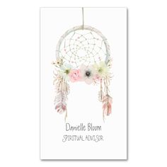 Watercolor Dream Catcher Feathers Floral Double-Sided Standard Business Cards (Pack Of 100). Make your own business card with this great design. All you need is to add your info to this template. Click the image to try it out!