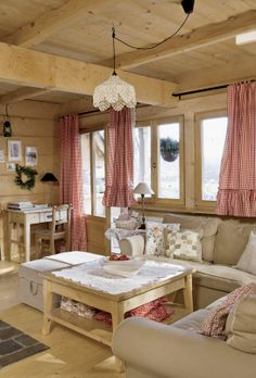 Rustic chalet www. Cottage Living, Cozy Living Rooms, Cottage Homes, Home Living Room, Houses In Poland, Sweet Home, Cabins And Cottages, Cottage Design, White Rooms