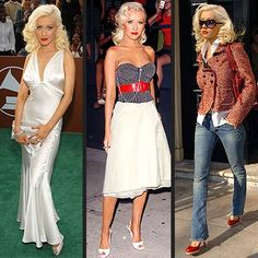 Not a huge fan of Christina Aguilera, but I like the way she (or her stylist) uses shape in clothing. Pinned mostly for the one on the right.