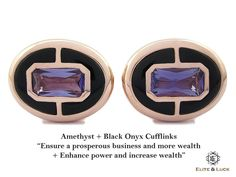 "Amethyst + Black Onyx Sterling Silver Cufflinks, Rose Gold plated, Prestige Model ""Ensure a prosperous business and more wealth + Enhance power and increase wealth"" *** Combine 2 Gemstone Powers to double your LUCK ***"