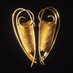 "Artist: Mary Lee Hu: Earrings #192, 18k and 22k yellow gold earrings. Each earring measures approximately 2 x 0.75"""