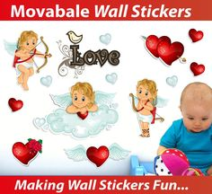 Cupid Love Angels Wall Stickers - TOTALLY MOVABLE, $8.95 (http://www.wholesaleprinters.com.au/cupid-love-angels-wall-stickers-totally-movable)