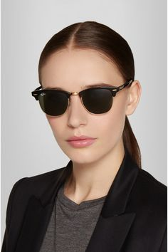 RAY-BAN Clubmaster acetate sunglasses-Black acetate 100% UV protection Come  in a fcb9b9e245d5