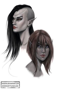 Dunmer Ladies Dunmer are probably my favorite elven race - creepy eyes, ridges and everything. The right one is my Nerevarine - Sayiah and the left is random but I really like how she turned out.