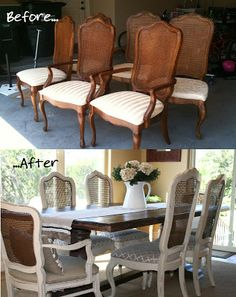 Refinish caned chairs, white and brown