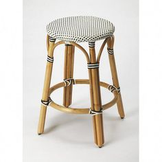 Butler Specialty Company Tobias 24 in. Black and White Rattan Counter Stool 9371295 - The Home Depot Black Counter Stools, Rattan Counter Stools, 24 Bar Stools, Swivel Bar Stools, Bar Counter, Bar Chairs, Ikea Chairs, Lounge Chairs, Room Chairs