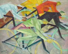Lyonel Feininger (1871-1956), The Bicycle Race, 1912. Oil on canvas.