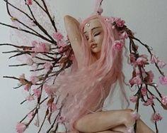 SHADOWSCULPT OOAK FAIRY spring cherry blosom sakura fantasy woodland fae forest elf art doll sculpture figurine