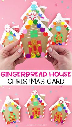 Gingerbread House Christmas Card Gingerbread House Christmas Card This colorful gingerbread house card is a simple and easy homemade Christmas card for kids to make. Grab our free template to make this cute Christmas craft today. Christmas Arts And Crafts, Christmas Crafts For Toddlers, Winter Crafts For Kids, Diy Christmas Cards, Xmas Crafts, Snowman Crafts, Childrens Christmas Card Ideas, Christmas Crafts For Kindergarteners, Christmas Crafts For Kids To Make At School