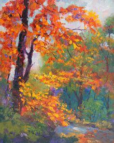 Amber Glow, Autumn trees oil painting - work in progress