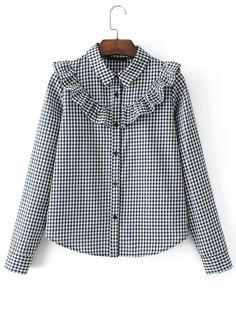 SheIn offers Ruffle Detail Gingham Blouse & more to fit your fashionable needs. Muslim Fashion, Hijab Fashion, Fashion Dresses, Kurta Designs, Blouse Designs, Vetement Fashion, Mode Inspiration, Mode Style, Shirt Blouses