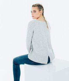 Cashmere Split Hem Sweater - Light Grey Marl