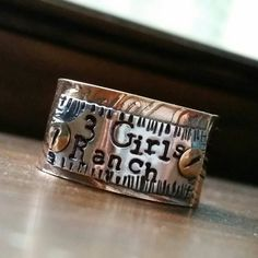 Hand stamped mixed metal ring, personalized gold ring, wedding band, engraved gold ring, men's ring, engraved date ring, mothers gold ring