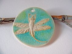 Dragonfly Pendant Stoneware Clay by TinasBeadMind on Etsy