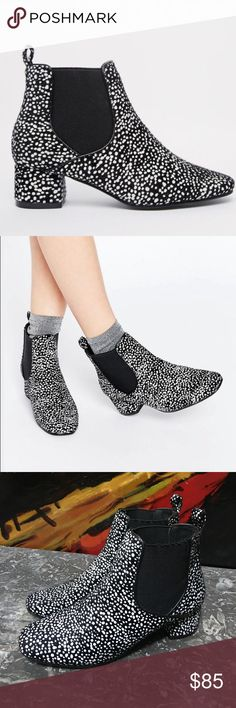 Black & White Hair Ankle Booties New condition boots. Faux pony hair. Beautiful Dalmatian spots pattern. Super trendy and perfect for Fall! Asos Shoes Ankle Boots & Booties