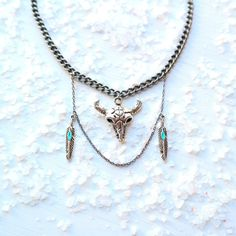 Feather & Cattle Skull Necklace by gypsy soul jewellery