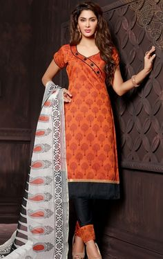 Picture of Orange Color Cotton Salwar Kameez
