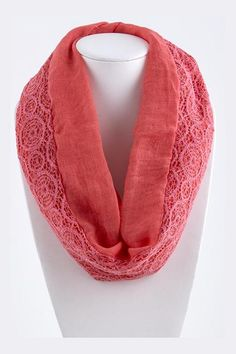 Lace Dakota Infinity Scarf in Strawberry