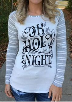 On Holy Night Striped Sleeves Baseball T-Shirt